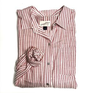 Universal Thread Red and White Striped Button Down